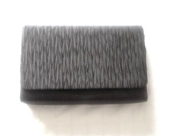 La Regale Black Shirred Front Satin Clutch