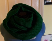 Infinity Scarf, Neck Warmer: Green Hand Knitted
