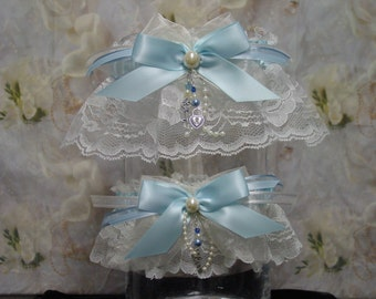 Blue and Off White/Ivory Traditional Wedding Garter Set