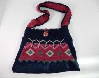 Vtg 10x13 Axtec Design Sweater Purse Re Style Fabric Bag Navy Blue Fuchsia Knit Crochet Sling Shoulder Cross Body Southwestern Western Style