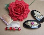 Vintage hair barrette 4 Hollywood Regency hair accessory hair slide hair clip headdress 1980s