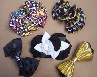 Vintage hair accessories 5 fabric hair barrette hair slide hair clip hair comb scrunchies hair jewelry hair decoration hair ornament1980s