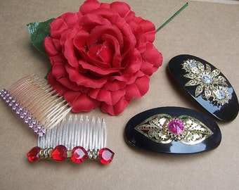 Vintage hair barrette 4 Hollywood Regency hair accessory hair slide hair clip headdress 1980s