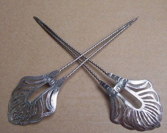 Vintage hair comb Indonesia Bali silver tone hair accessory hair pin hair pick hair jewelry hair ornament headdress(AGS)