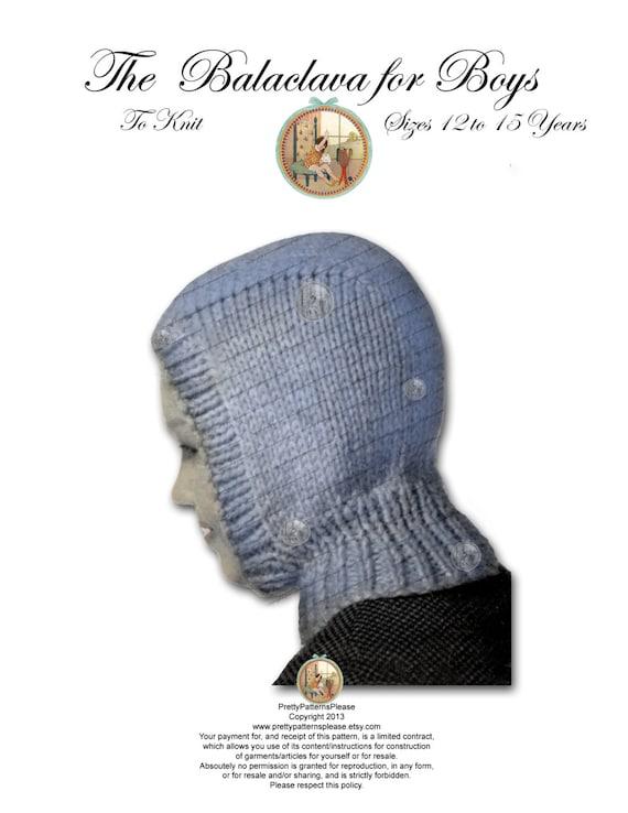Vintage Balaclava Knitting Pattern : Items similar to Boys Balaclava Hoodie Vintage Knitting ...