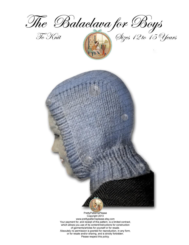 Balaclava Knitting Pattern 2 Needles : Boys Balaclava Hoodie Vintage Knitting Pattern PDF Instant