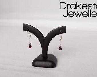 Garnet faceted teardrop earrings
