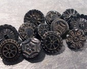 VINTAGE Black Glass Buttons Fancy Assorted Twelve(12) Victorian Black Glass Vintage Jewelry Supply Victorian Edwardian Floral Buttons (A228)