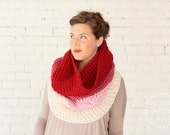 WINTER SPECIAL | The Ombré Cowl | Geranium | Chunky Knit Ombré Oversized Huge Textured Winter Cowl Scarf