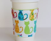 Coffee Cup Cozy - Floral Kitty Cats - Felines and Flowers