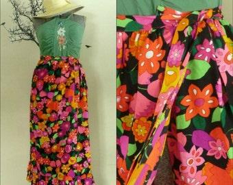 Vintage 1960s Maxi Wrap Skirt  Wrap Beach Coverup Bright Floral Print