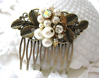 Pearl and rhinestone vintage earring hair comb for bride, bridesmaid, mother of the bride, grooms mother, antique bronze with patina leaves
