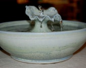 "Ceramic Cat Fountain, Handmade, Foodsafe -  ""Water Lily Leaf"" - 11 Inch Diameter"