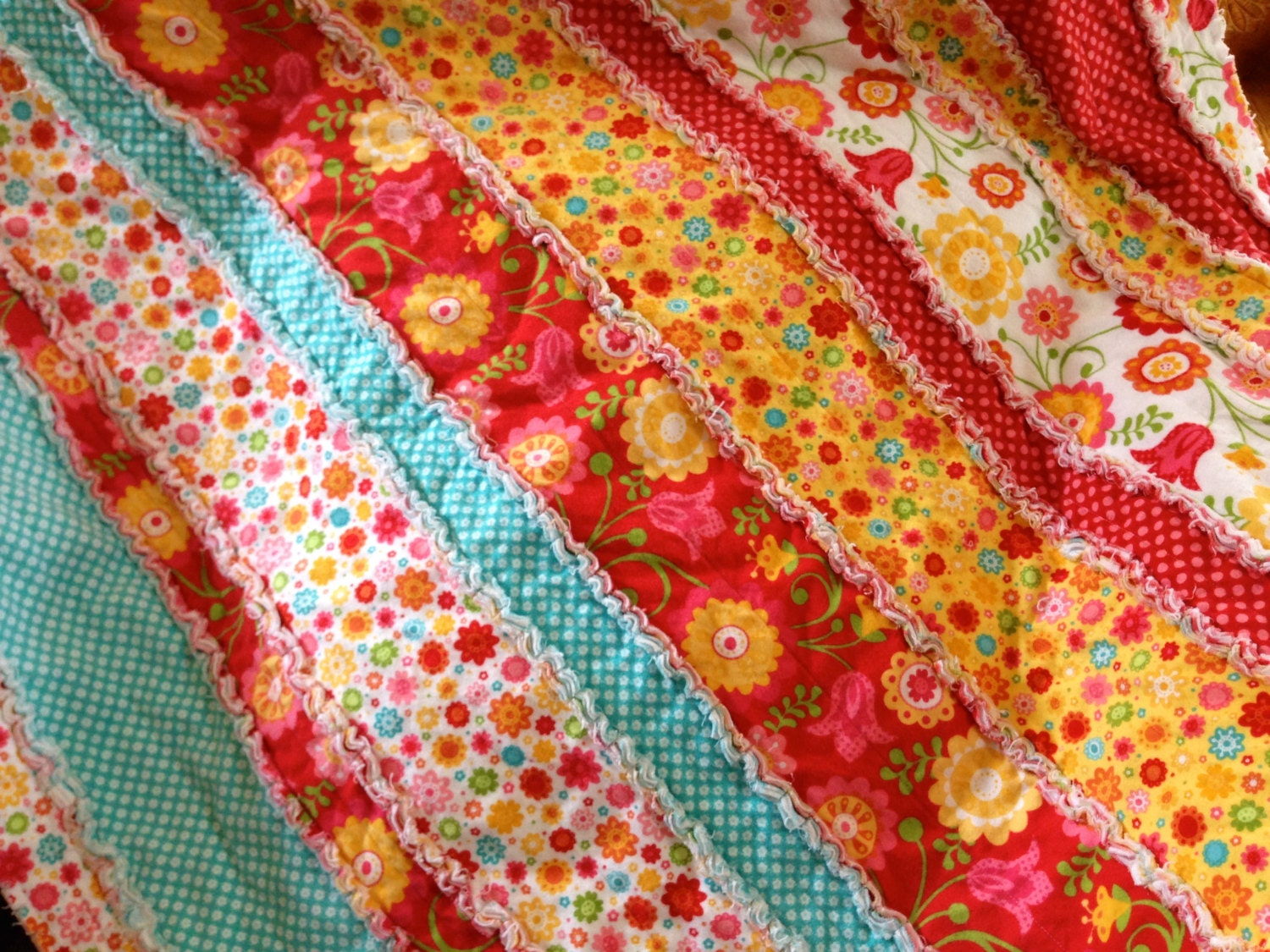 Flannel Rag Quilt Big Bright Colorful Floral Pattern For Any