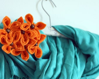 Orange Felt Flower Brooch, Orange Flower Brooch, Felt Flowers
