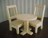 Handmade Table and 2 Chairs for 18 inch doll