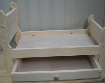 Handmade Sleigh Trundle Bed for 18 inch doll