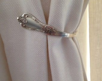 NEW ITEM Vintage Silverware Silver Plate Spoon Curtain Tie Back Hold Back Hook