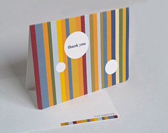 Modern Colorful Stripes Thank You Notecards