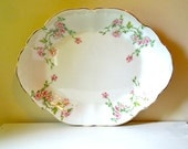 Antique China Platter with Pink Roses - H.R. Wyllie China Co. West Va.