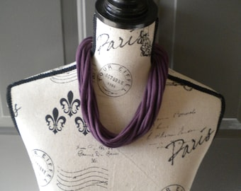 Jersey Scarf Necklace in Plum