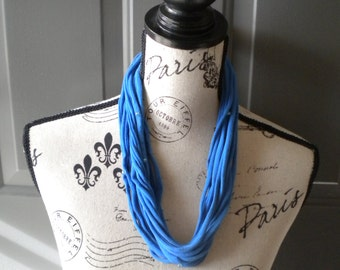 Jersey Scarf Necklace in Blue with Beads