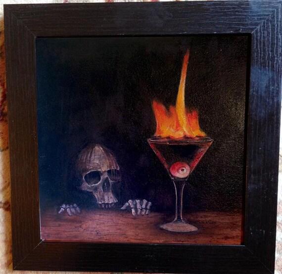 Original Halloween Skull Barware Watercolor Painting