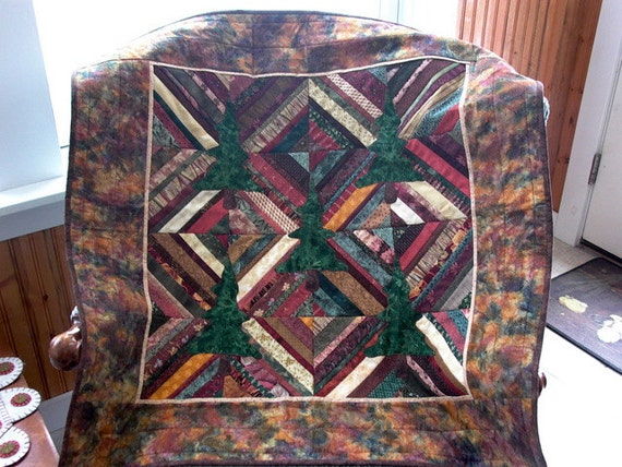 Evergreen Tree quilt  wallhanging Adirondack colors