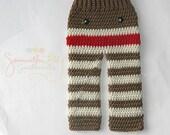 2T or 3T SIZE ONLY:  Sock Monkey Pants, crochet sock monkey pants, crochet pants, baby pants, sock monkey baby