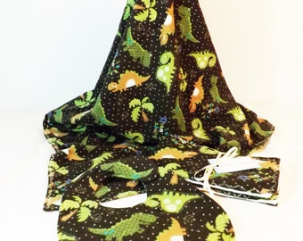 Dinosaur print Layette Set Flannel Blanket, bib and burp cloths set