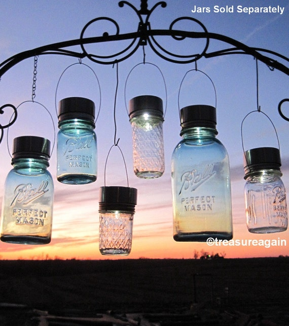 Garden Solar Jar Lights 6 Mason Jar Solar LIDS Garden Decor, Weddings, Outdoor Garden Lighting, Hanging Mason Jar Light LIDS ONLY, No Jars