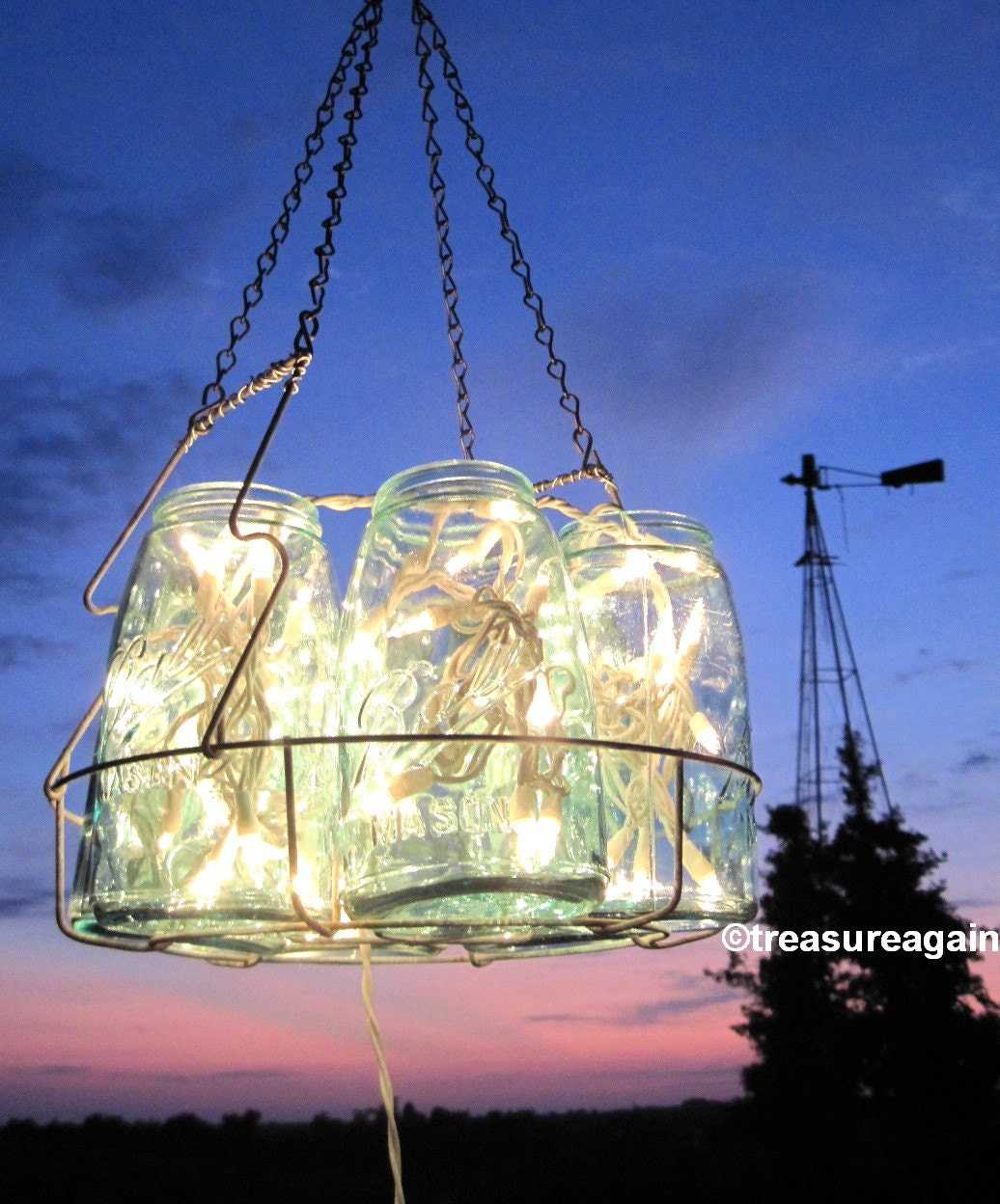 Mason Jar Lighting: Vintage Chandelier Antique Mason Jar Chandelier 6 Sloped Blue