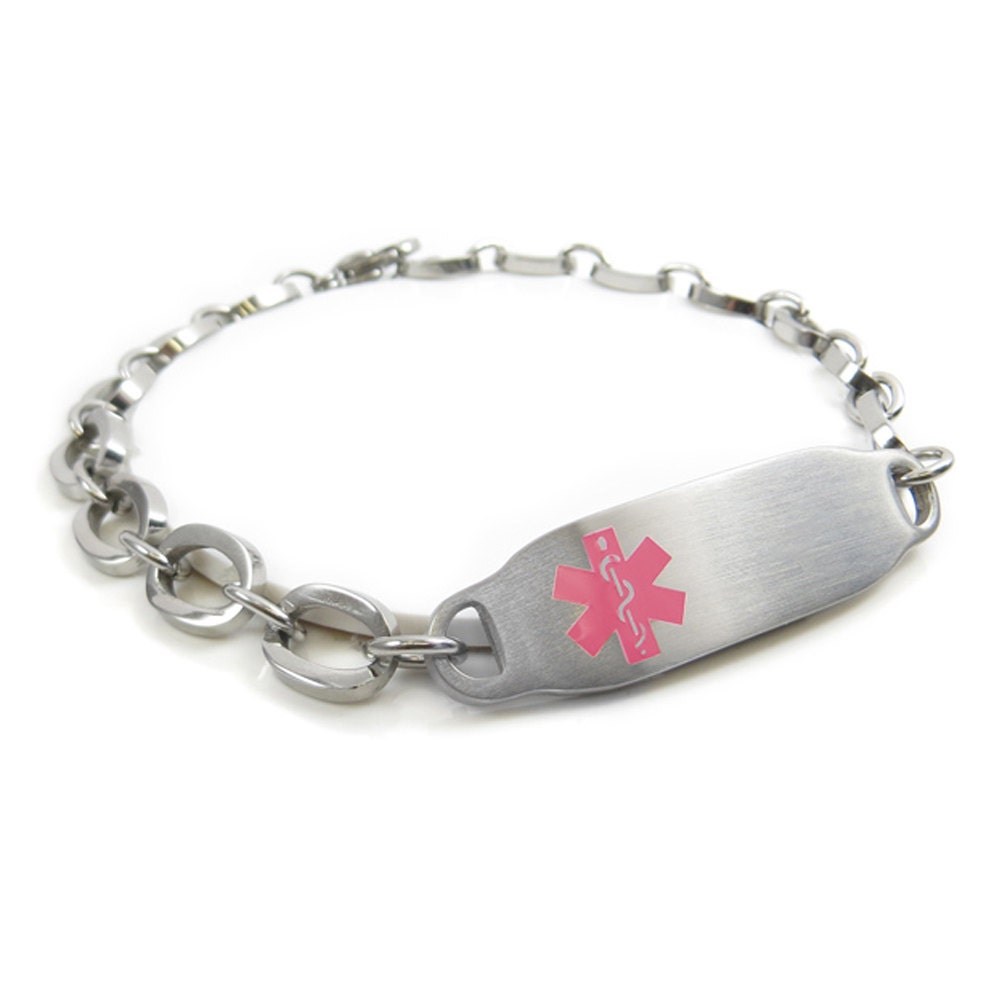 Womens Medical Alert Bracelet Engraved Oval Links Pink