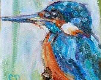 Kingfisher, Sale, Bird Painting, brightly colored bird, Australia, blue bird, pretty bird, tropical, woodland,Original oil