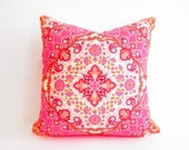 Orange Pink Pillow, Girls Bedroom Decor, Bohemian Pillows, 18 Inch Square Decorative Throw Accent Pillow, Boho, Modern Eclectic, Bright