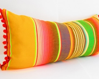 Yellow bohemian decor, Mexican Pillows, Tribal  Aztec Cushion, Mexican Cushion, Yellow Pillows, Serape Pillow, Southwestern pillows, pom pom