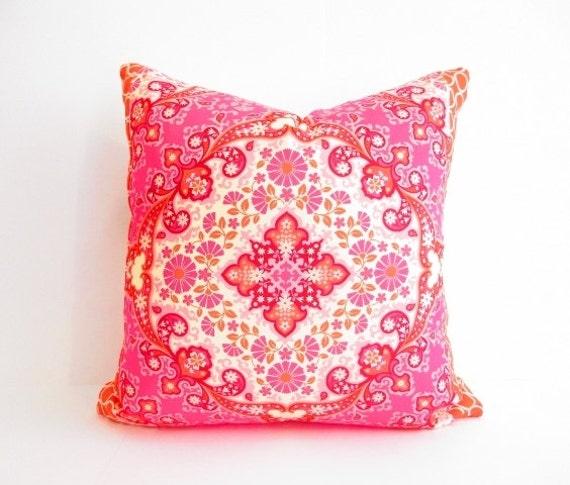 Orange And Pink Decorative Pillows : orange pink Pillow Girls Bedroom Decor Bohemian Pillows