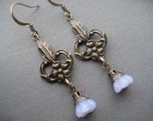 Art Nouveau Earrings - Art Nouveau Jewelry - Flower Earrings - Art Nouveau Floral - Beaded Flower Earrings - Romantic Jewelry