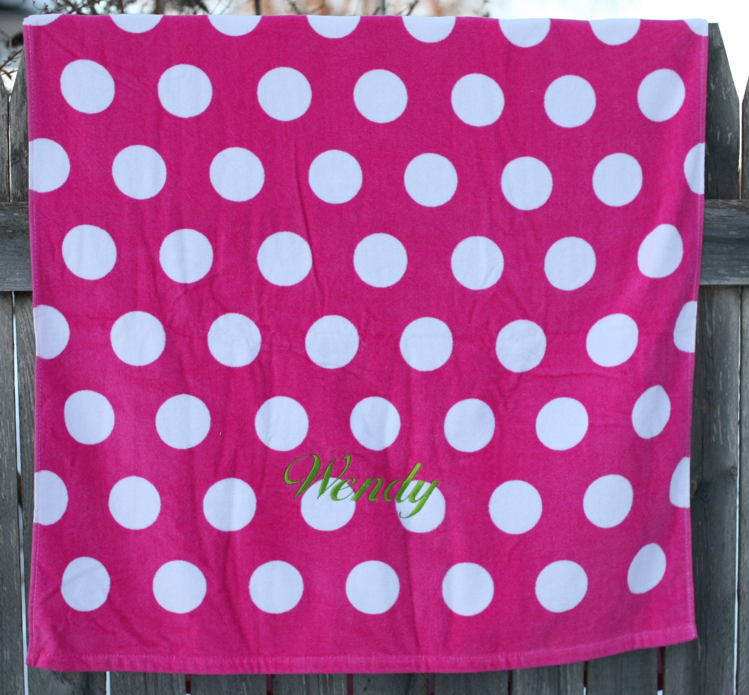 Terry Velour Beach Towel With Polka Dots PERSONALIZED Just