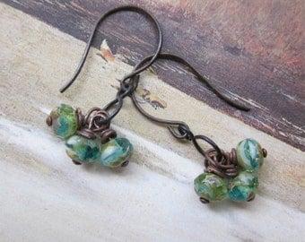 aqua blue carmel dangles - the kenza earrings