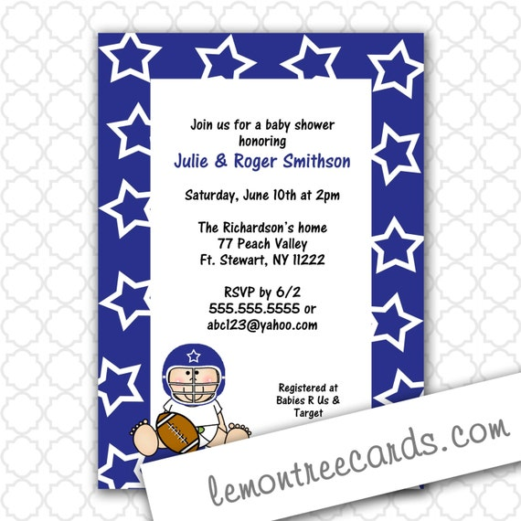 Dallas Cowboys Baby Shower Invitations and get inspiration to create nice invitation ideas