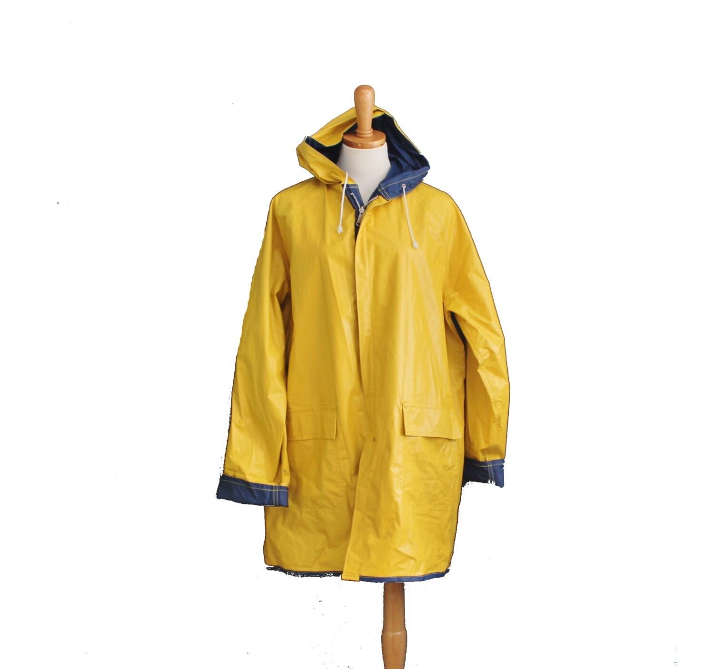 Vintage 80s Yellow Blue Reversible Rain Coat Snap Button