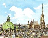 Vienna Austria art print from an original watercolor painting