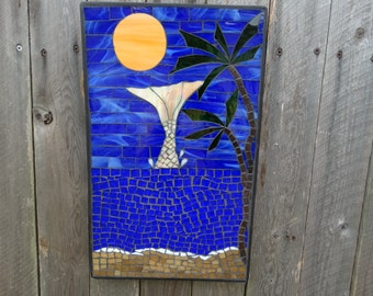 Mosaic Wall Hanging Home Decor, Mermaid,Palm trees, Moon, Breaking waves.Beach Decor, Deep blue