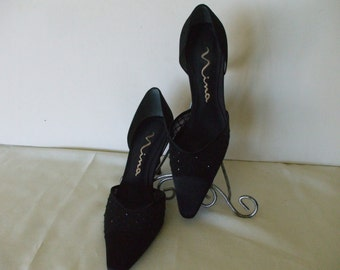 NINA Heels, Black Evening Pumps - Formal Wear - Prom - Vintage -