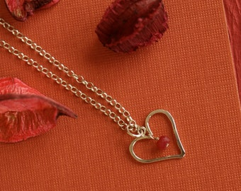 Sterling Silver Hammered Heart with Ruby