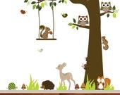 VACATION SALE-All orders ship Aug 15th!! Forest woodland kids vinyl wall decal nursery wall decal deer fox hedgehog owl bird boy girl baby