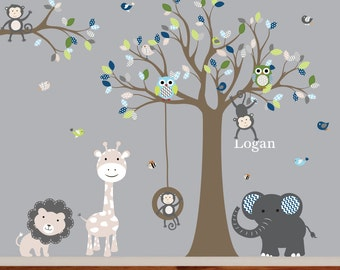 Vinyl Wall Decal  Jungle Safari Tree Monkeys Elephant Giraffe Vinyl Wall Art Decals Nursery Kids Boys
