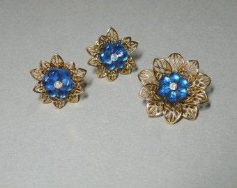 Sapphire Flower Brooch & Earring Set