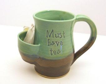 Personalized Tea Drinkers Sidekick Mug In 'Lagoon' - Custom Mugs - Hand Thrown Pottery - Great Gifts - Made to Order